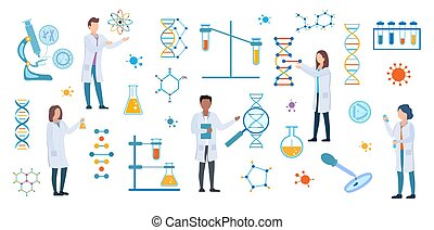 Set of DNA and medical science researchers