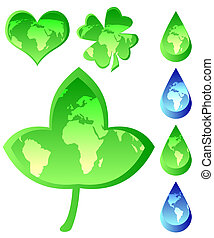 Set of Ecological Icons - Heart shape, dew, leaf, quarterfoil / Vector