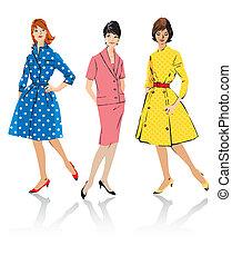Set of elegant women - retro style fashion models - spring season