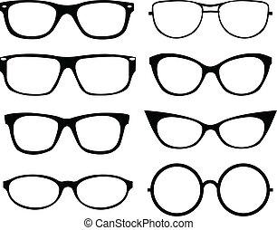 Set of eyeglasses isolated over white background