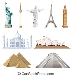 illustration of set of famous monument around the world