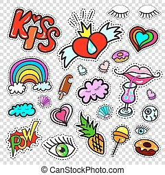 Set of Fashion patch badges, stickers kit