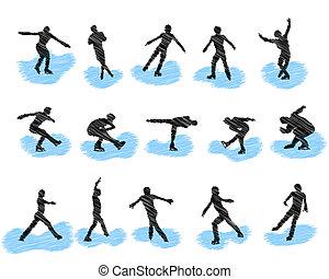 Set of figure skating grunge silhouettes