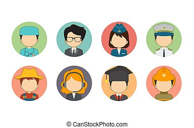 Set of Flat Avatar With Variety Profession
