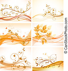 Set of floral abstract backgrounds