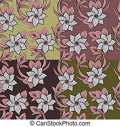 set of floral seamless background