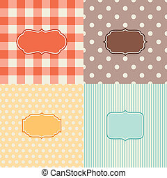 Set of four patterned backgrounds with frames.