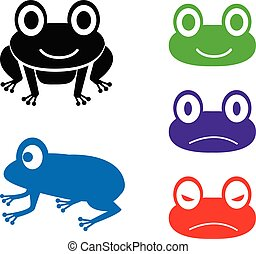 Set of frog icon in cartoon style, vector
