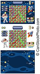 Set of game with spaceship and astronaut in space