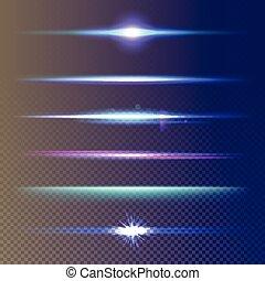 Set of glow light effect stars burst