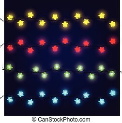 Set of Glowing Christmas Lights for Xmas Holiday Greeting Cards Design. Light Bulbs Collection.