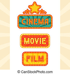 Set of glowing retro cinema neon signs.