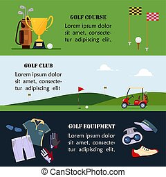 Set of golf banner, clothes and accessories for golfing, website header set for golf tournaments, clubs, championship, course and school, sport game - flat vector illustration
