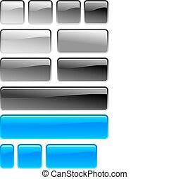 set of gray and blue square button