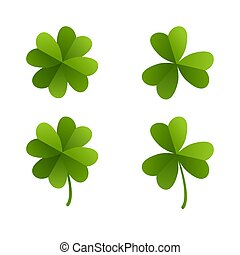 Set of green leaves of clover.