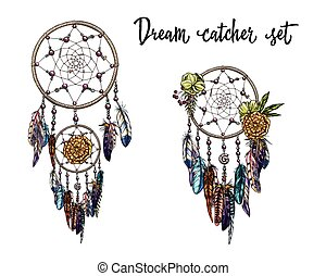 Set of hand drawn dream catchers. Feathers, beads and flowers. Vector illustration.