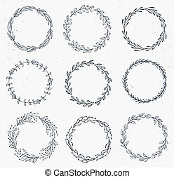 Set of Handdrawn ink painted floral frames, wreaths and laurels. Vintage vector clipart srt for wedding, holiday and greeting cards, web, prind scrapbooking design and other