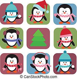 set of holiday penguins