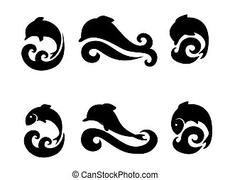 Set of icons with dolphins and fish