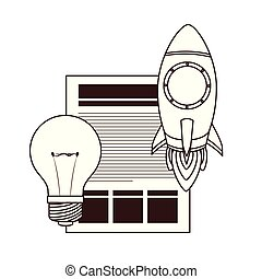 set of icons with space rocket