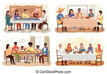 Set of illustrations on the theme of people have dinner in traditional styles of countries worldwide