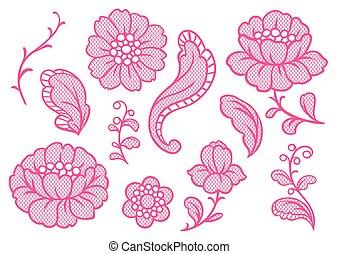 Set of lace flowers. Vintage textile.