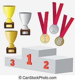 Set of medals and cup for awards.