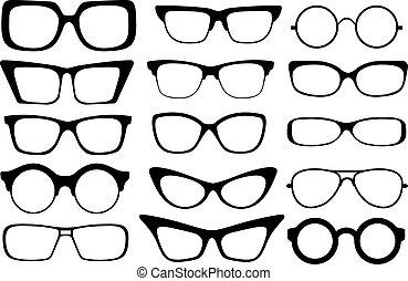 Set of modern fashion glasses. Vector illustration