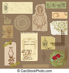 Set of Old paper with Vintage Goods - for your design and scrapbook in vector