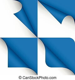 Set of paper curled corners of page, vector illustration