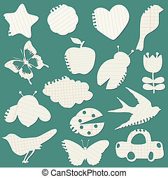 Set of Paper Tags - for design and scrapbook - in vector