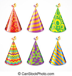 Set of party hats on white
