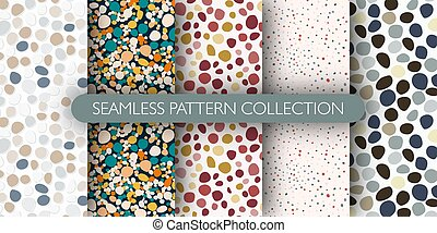 Set of pebble seamless doodle patern. Abstract stones backdrop collection.