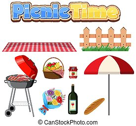 Set of picnic with BBQ grill and food on white background