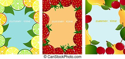Set of postcard templates with bright summer fruits.