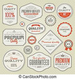 Set of vintage premium quality labels and badges