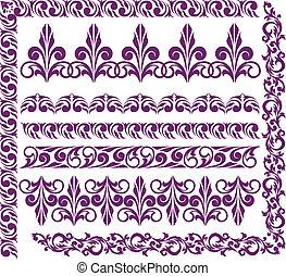 set of purple ornaments