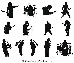 set of rock and jazz silhouettes