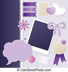 set of violet scrapbooking elements, vector set