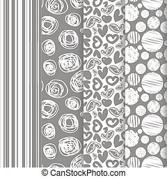 set of seamless abstract pattern in