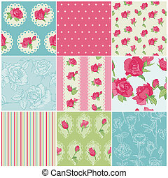 Set of Seamless Floral Rose backgrounds - in vector