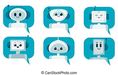 Set of smiling cute robot chat bots in speech bubble. Support service concept. Vector cartoon flat illustration