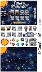 Set of space adventure game with planets in space