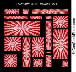 set of standard size banners with a color pattern