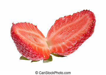 Set of strawberries isolated over white background