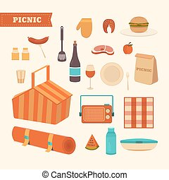 Set of summer picnic