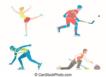 Set of various Winter sports on ice rink.