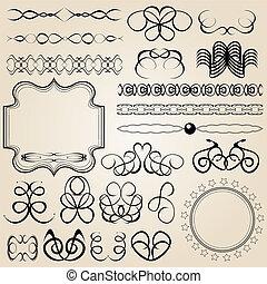 set of vector calligraphic elements