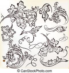 Set of vector calligraphic swirl