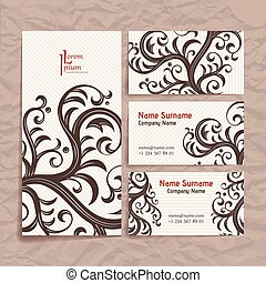 Set of vector design templates. Business card with floral ornament. Vintage style.